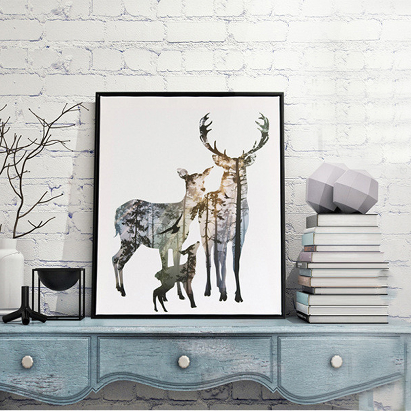 DCTOP Forest Deer Family Cartoon A4 Child Room Art Print Poster Painting Living Room Animals Design Wall Picture Office Printing(China (Mainland))