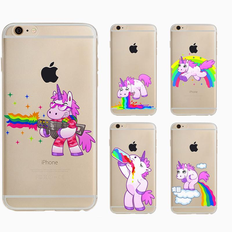 Cute Hippo Rainbow Unicorn Horse Gel Clear Tpu Phone Case For Apple Iphone Se 5 5s 6 6s Plus 6plus Soft Back Cover(China (Mainland))
