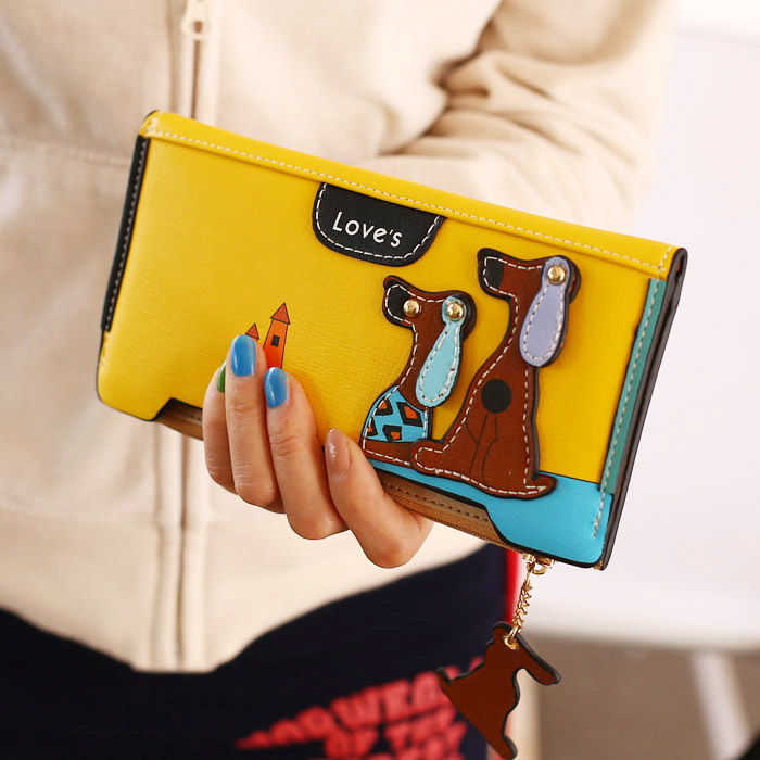 High Quality Brand New 2016 Women Clutch Vintage Wallet Long Zipper Design Dog Badge Print Card Case Day Clutch Female Wallets(China (Mainland))