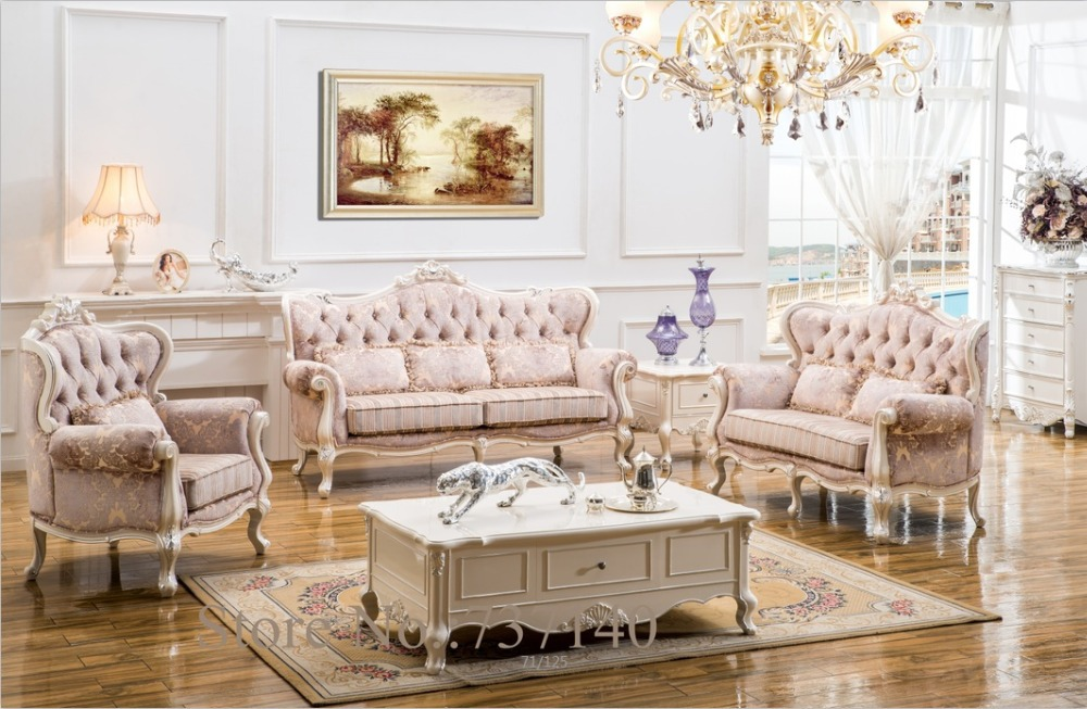 Sofa set living room furniture wood and fabric living room for Buying living room furniture