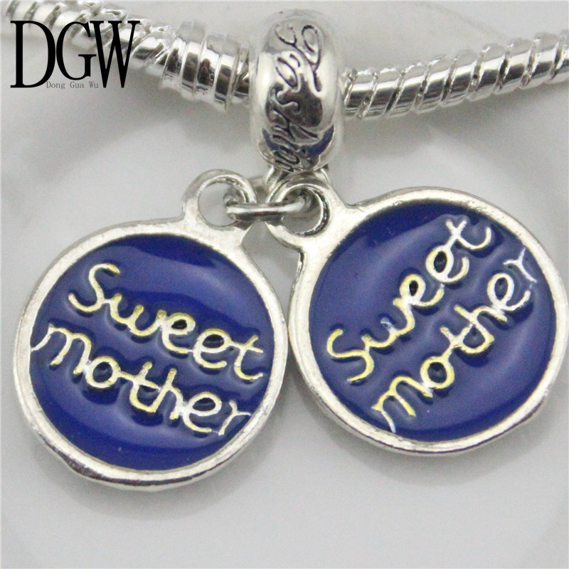 DGW 5 colors Sweet Mother european hanging bead charm Fits European Pandora Charm Bracelets & Necklaces(China (Mainland))