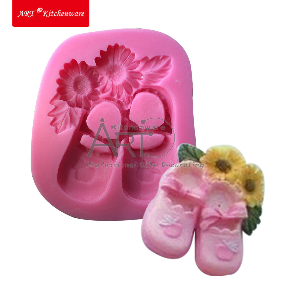 Tomato and Bowknot Decorating Beautiful Sunflower Girl Shoes Baby Silicone Mold for Cake Decoration Chocolate Cook Tool SM-519(China (Mainland))