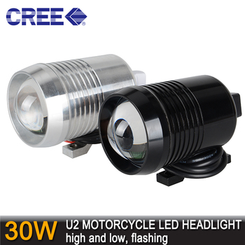 30W Cree U2 LED Motorcycle Motorbike 1200LM High Low Flash CREE LED Driving Fog Spot Head Bulb Light Lamp Headlight Headlamp