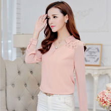 Free shipping 2015 Spring New Woman lace shirt Hollow Fashion Casual Long-sleeved chiffon blouse Shirt Plus size women Tops(China (Mainland))