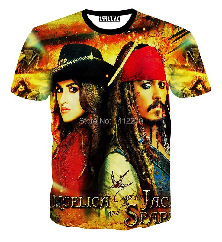 2015 Angelica Pirates of the Caribbean t shirt Calaway Pirate Captain t-shirts Women Men 3D Jack Sparrow harajuku Tops Male 5685(China (Mainland))