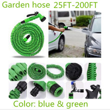 New hot sell Garden hose reels Stretched hose watering 25- 200FT  Expandable Garden Water Hose with Spray Gun connector (EU/US)(China (Mainland))