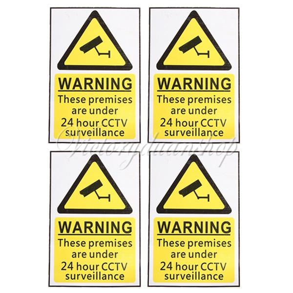 New 4pcs 24 Hour CCTV Security Surveillance Stickers Camera Warning Signs Decals Free Shipping(China (Mainland))