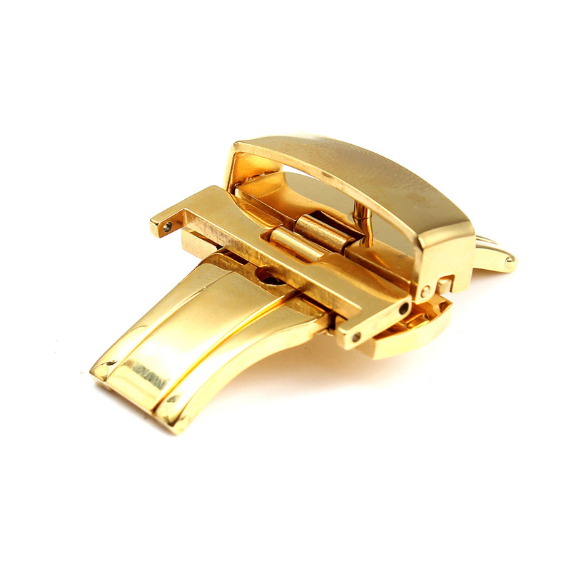 Lowest Price Gold Stainless Steel Double Button Fold Butterfly Deployment Watch for Band Buckle Clasp Best Promotion<br><br>Aliexpress