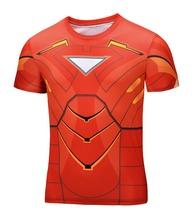 High Quality NEW 2015 Marvel Tony Stark Iron Man 2 Energy Ring Costume Super Hero jersey Sport T shirt Men 21 style(China (Mainland))