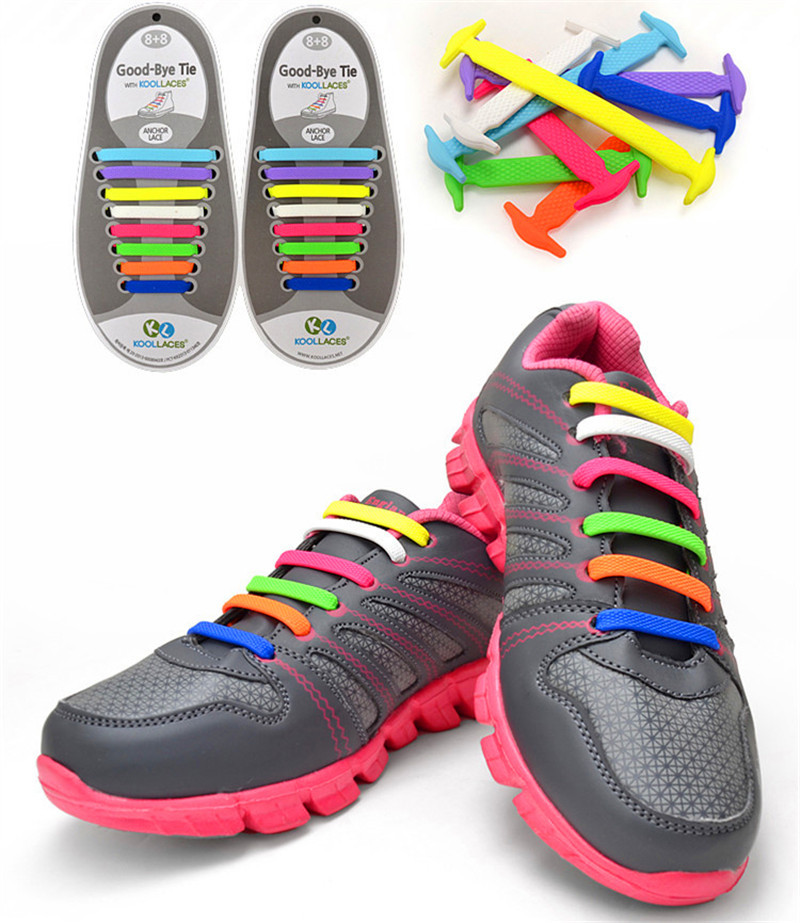 Coolnice Elastic No Tie Silicone Rubber Elastic Shoelace Sneaker Shoe Laces Running Shoelace Athletic Shoe laces 16 PCS(China (Mainland))