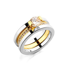 Hottest Original Brand Rings 18K Gold plated with CZ Diamond Double Deck Two in One Women