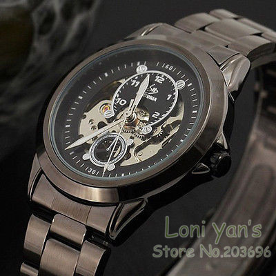 SHENHUA Cool Fashion Mens Skeleton Auto-Mechanical Stainless Steel Wrist Watch Analog Wristwatch Free Ship<br><br>Aliexpress