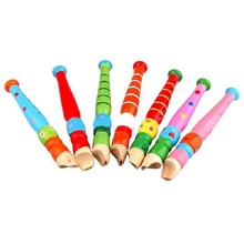 Free Shipping 1 Pcs Colorful Fun Baby Wooden Flute Whistle Musical Education Toys Portable Developmental Instrument(China (Mainland))