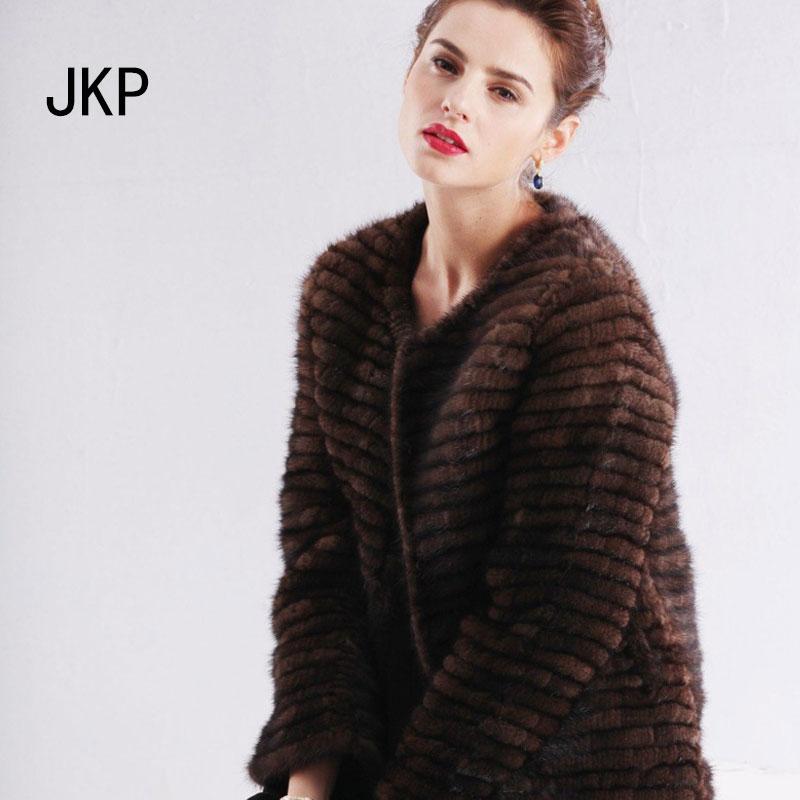 Real knitting Mink Fur Coat Natural Mink Fur Outwear 100% genuine jacket Natural color winter Luxury knitting Mink Fur Coat(China (Mainland))