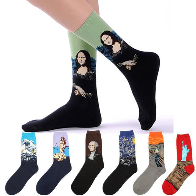 Нью-harajuku Westen хлопок женщина и мужчины носки высокое качество мона лиза живопись ...