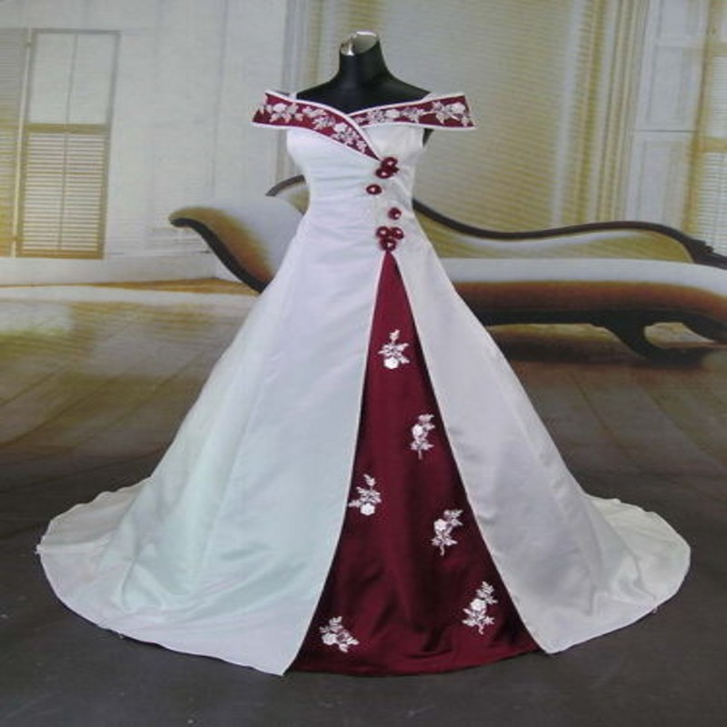2015 Hot Sales Real Image White and Red Wedding Dresses Applique Court Train Off-the-shoulder A-Line Taffeta Bridal Gowns(China (Mainland))
