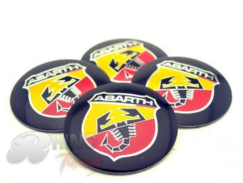 4PC* 56mm ABARTH Wheel Centre Emblem Sticker 56mm Car Wheel Center Hubs Caps Badge Sticker 265a
