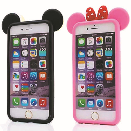 Hot 3D Mickey ears pink balck Fashion silicone Protect shell bumper cute lovely cartoon phone case cover for Apple iPhone 4 5 6(China (Mainland))
