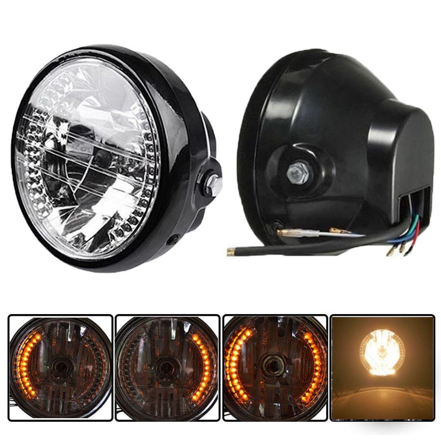 5 Sets 7'' Amber Lights Side-Mount Headlight with Amber LED Halo Ring Motorcykel Motorrad Motorsykkel Las Luces(China (Mainland))