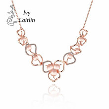 Ivy Caitlin N926-B Romantic Link chain 18K Real Gold Plated Rhinestone Necklace & New Fashion Antiallergic pendants Jewelry(China (Mainland))