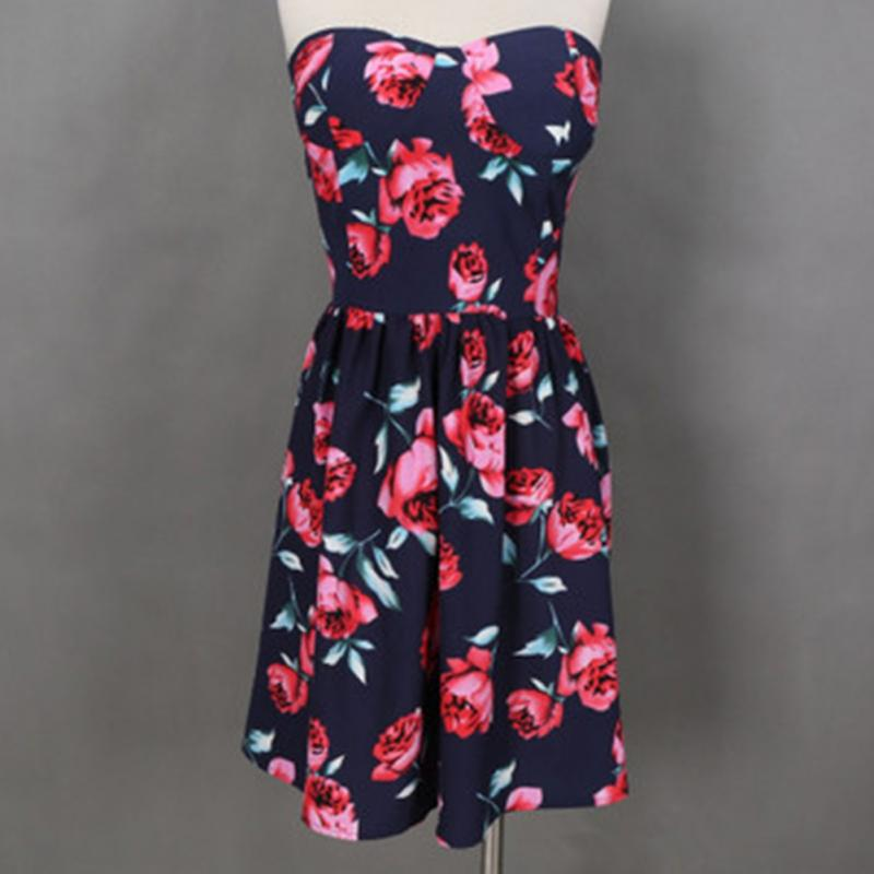 Fashion NEW Fashion Dress women sexy polyester floral sleeveless pullover boob tube top dress brand new women clothing M, L, XL(China (Mainland))