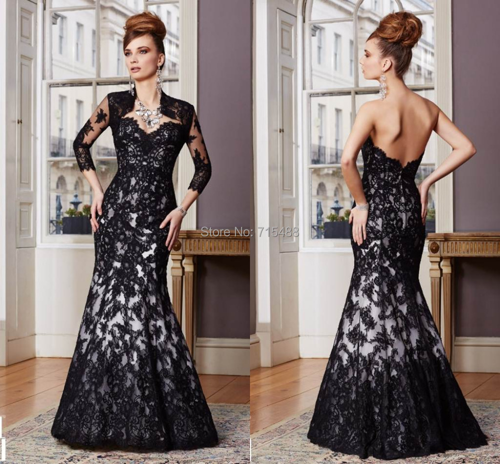 With jacket mermaid long sleeve evening gown black lace for Black lace jacket for wedding dress
