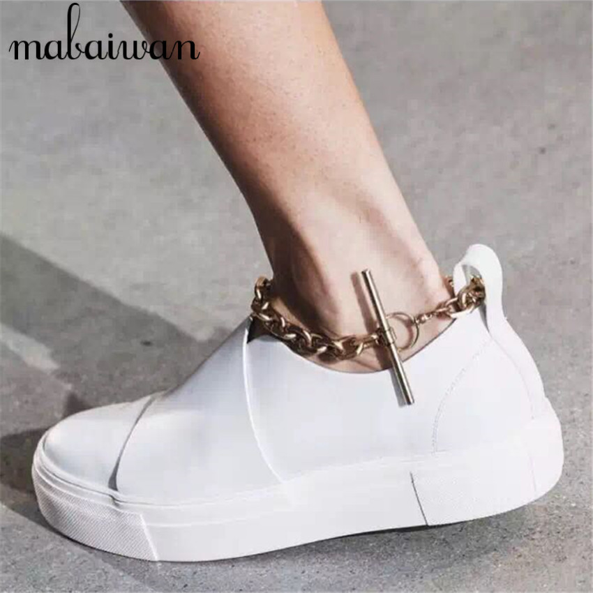 Chain Decor Fashion Women Flats White Casual Loafers Slip On Platform Flat Shoes Woman Ballet Shoe Espadrilles Creepers(China (Mainland))