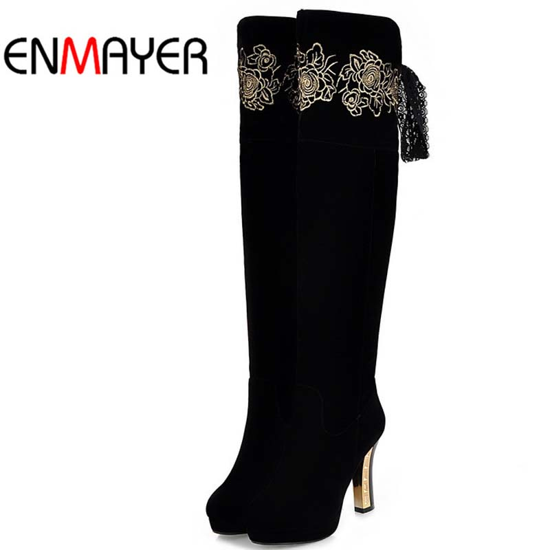 ENMAYER black Women Boots Round Toe Fashion Boots Over-the-Knee Boots For Women Size Winter Snow Long Boots Shoes Women Hot <br><br>Aliexpress