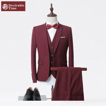 (Jacket+Vest+Pants)Men Slim Fit Suits Plus Size M- 6XL Mens White Wedding Suits With Pants Business Mens Formal Wear XK45(China (Mainland))