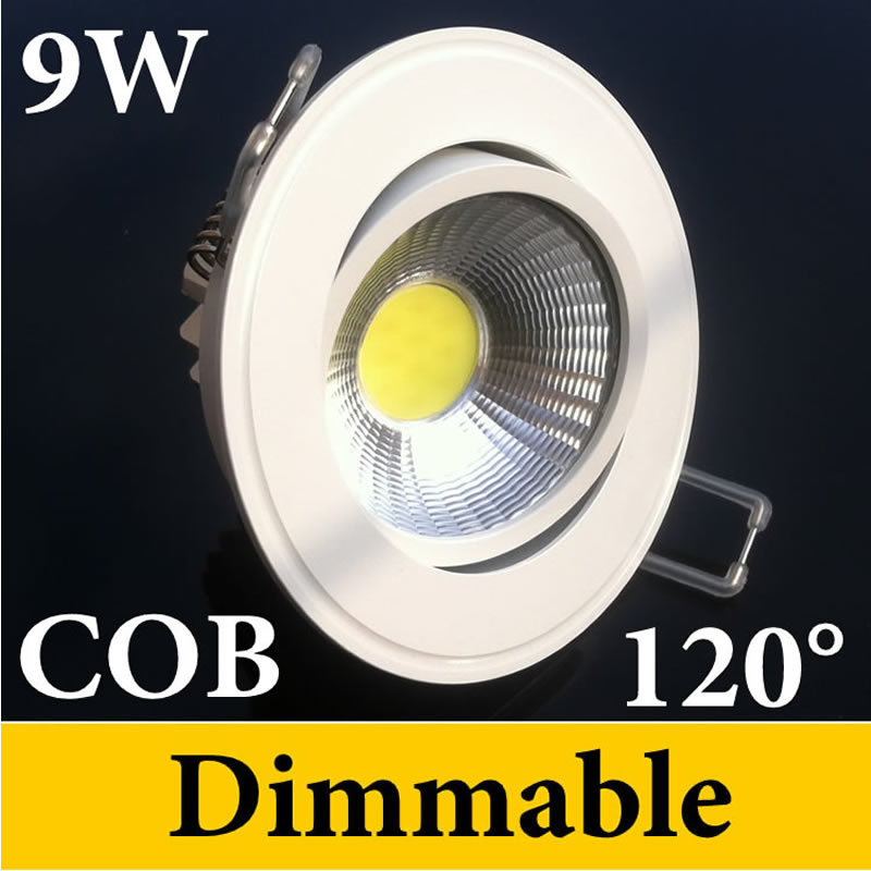 COB Dimmable 9w Led Recessed Downlights Lights 110-240V + Transformer 120 Beam Angle Nature White Warm CE ROHS - Eternal Online LED Store store