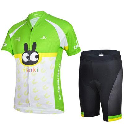 CHEJI New Children Cycling Clothing Bike Bicycle Short Jersey Shorts Sets Kids Green Rabbit Boys mtb Shirts Cyc Top Suits CC0409(China (Mainland))