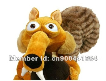 Free shipping! Wholesaler Ice Age Squirrel Scrat Plush Stuffed Squirrel Animal toys 25cm,Cute Stuffed Ornaments