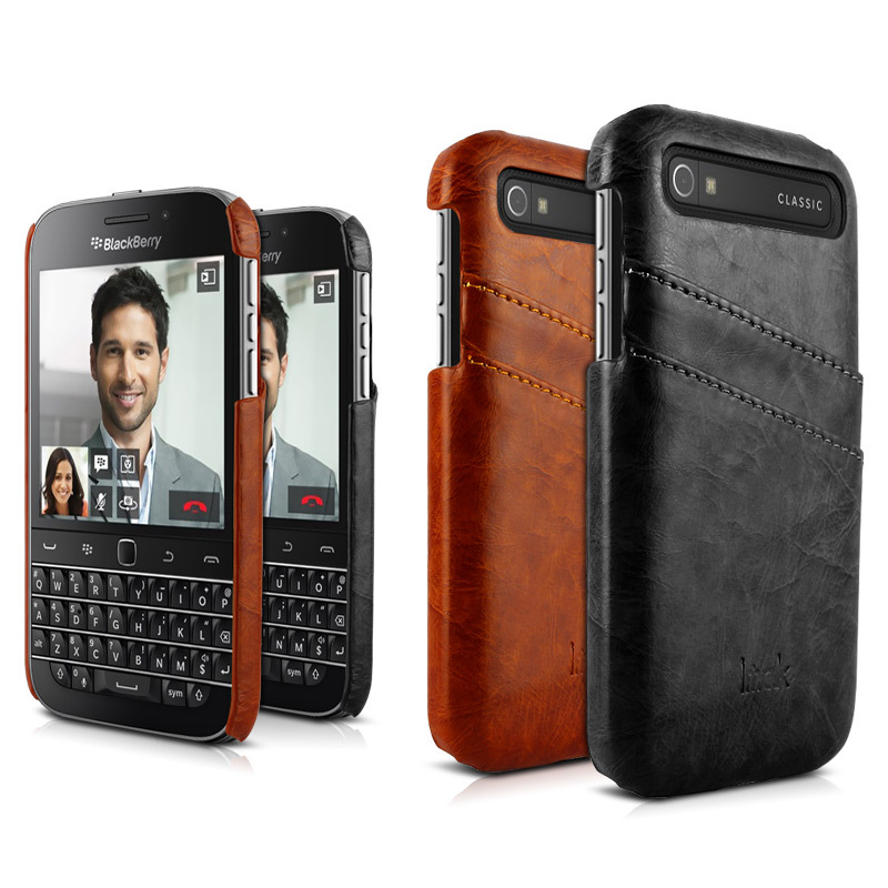 Original IMAK for BlackBerry Classic Q20 Case PU Leather Hybrid Back Cover for Blackberry Classic 3.5'' with Credit Card Holder(China (Mainland))