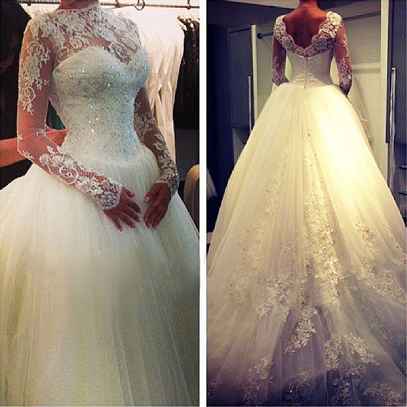 Ball Gown Wedding Dresses With Long Sleeves : Elegant long sleeve beaded lace corset ball gown muslim bride dress