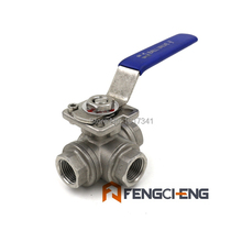 "3 Way Ball Valve -  L Flow, 1/2""Female NPT, SS316, Food grade and High Tem Ball Valve, Brewer Hardware,(China (Mainland))"
