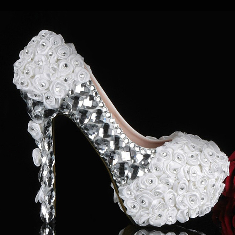 2014 white flowers with silver crystals rhinestones high heels bridal wedding shoes Graduation Ceremony Prom Shoes<br><br>Aliexpress