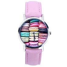 2016 Yoner Watch Fashion Creative Elegant Food Pattern Quartz Watches Women Faux Leather Analog Wristwatch Gift For Girl Relogio