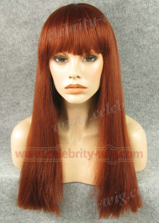 N11-350/35 beautiful silky straight style top quality synthetic lace fornt wig with neat bang<br><br>Aliexpress