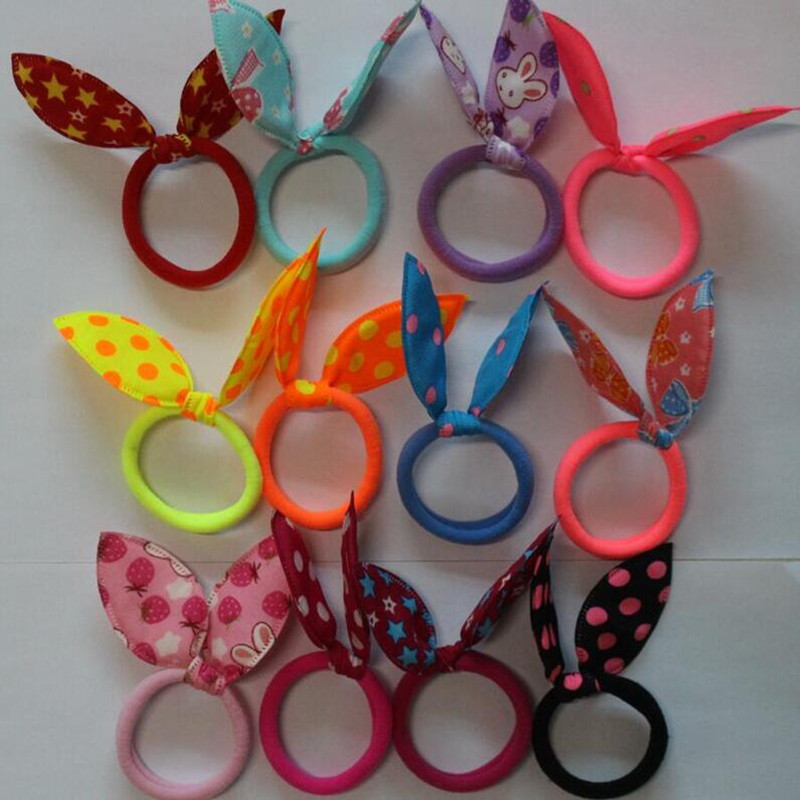 1 piece Girls Elastic Hair Rope Bands Rabbit Ears Flower Star Dot Ties Rubber Band Ponytail Holder Ladies Hair Accessories Women(China (Mainland))
