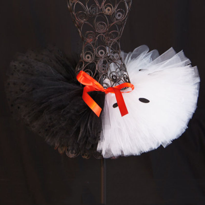 New Arrival baby girls tutu de ballet pageant skirts kids children black fluffy tulle satin ribbon halloween tutu(China (Mainland))