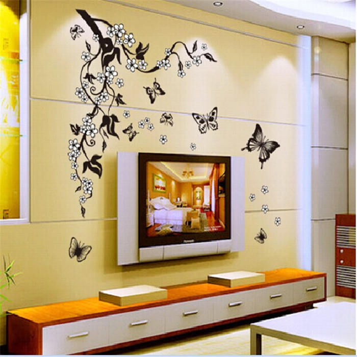Butterfly Flowers living room sofa wallpaper poster vinyl wall stickers home decor family wall decals art house decoration(China (Mainland))