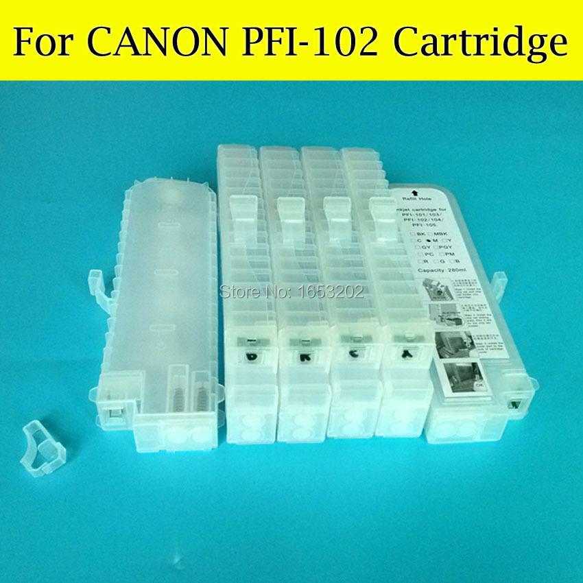 6 Pieces/Lot For Canon PFI-102 PFI-104 Refill Ink Cartridge For Canon iPF650 iPF655 iPF750 iPF755 iPF760 iPF765 With Chips<br><br>Aliexpress