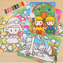 color sand painting with 9 color sand color at the bottom of the DIY manual((1 piece 27.5*20.5) )(China (Mainland))