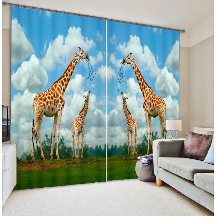 Giraffe animal print curtains finished shutter stereoscopic three-dimensional printing(China (Mainland))