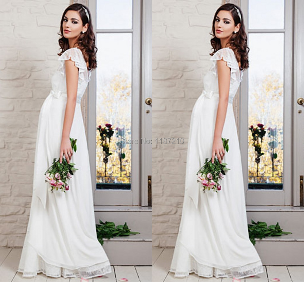 2015 elegant lace chiffon beach wedding dresses full for Inexpensive maternity wedding dresses