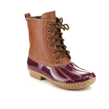 Women's Faux Leather Lace Up Two Tone Vintage Rubber Boots Calf Rain Winter Duck Boots Snow Boots Waterproof Shoes DYLAN-YK(China (Mainland))