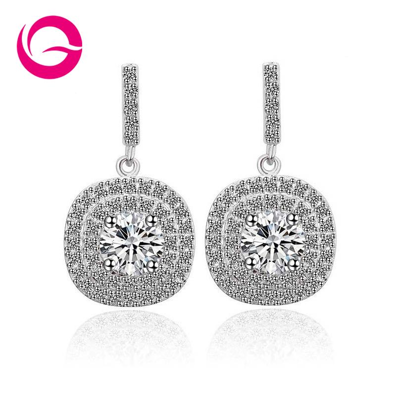 Гаджет  FIVE COLOR OPTIONS Brand Latest Design Glittering Cubic Zirconia Paved Halo Design Earrings,Wedding Jewelry Earrings GLE3694  None Ювелирные изделия и часы