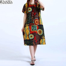 Buy M-5XL ZANZEA NEW Womens O Neck Floral Print Short Sleeve Casual Cotton Linen Knee Length Dress Baggy Boho Tunic Kaftan Plus Size for $11.72 in AliExpress store