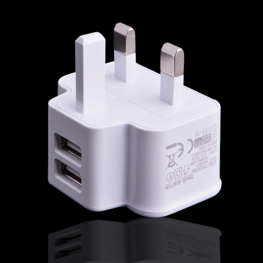 Brand New 5V 2.1-Amp Dual 2-Port USB Wall Charger 3 pin UK AC Power Adapter Home Charger Universal for Cellphone&Tablet PC White(China (Mainland))