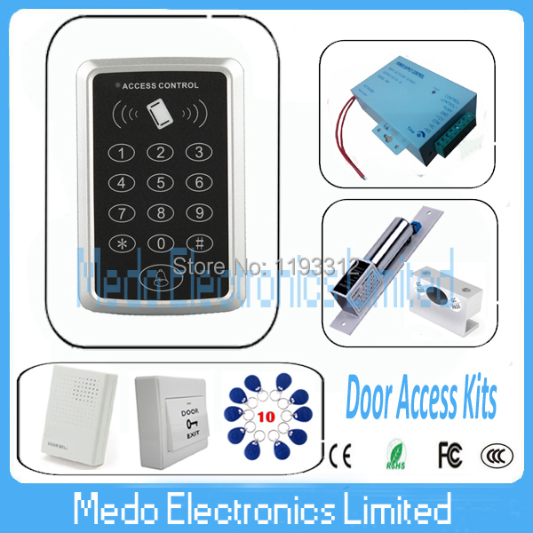 NEW RFID Proximity Card Door Access Control Kits RFID/EM Keypad Access Control + Power Supply + Bolt Lock + Wired Door Bell<br><br>Aliexpress